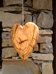 Olive Wood Heart made as a wedding present by Paul Swatridge